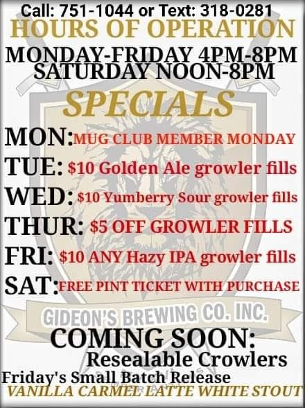 Updated Hours and Specials
